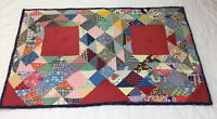 Vintage Patchwork Quilt Table Topper or Doll Crib Quilt, Ocean Waves, Triangles
