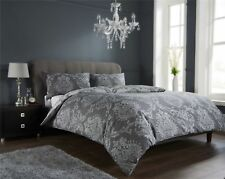 Luxury Damask Charcoal / Gold Duvet Quilt Cover Bedding Set Single Double King