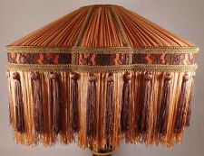 Copper & Brown Color Bridge Victorian Pleated Fringed Uno Fabric Lamp Shade #777