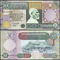 LIBYA 10 DINARS 2002, AUNC / UNC, P-66, OMER MUHTAR