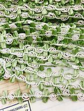 6 yard Ivory/Green Fancy Cord Rose Flower Satin Leaf Lace Trim/dress/sewing T202