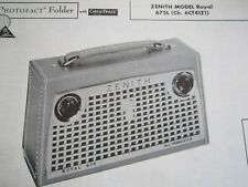 ZENITH ROYAL 675 TRANSISTOR RADIO PHOTOFACT