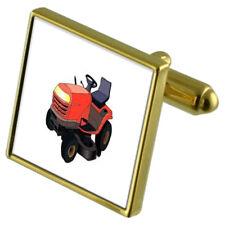 Garden Lawnmower Gold-Tone Cufflinks Crystal Tie Clip Gift Set
