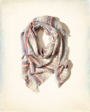 Hollister Ladies Cream, Blue and Orange Stripe Large Square Scarf BNWT