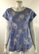 Apt 9 Womens Top Size Large Blue Floral Semi Sheer Short Sleeve Tee Shirt Fitted