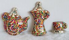 SET of 3 Coffee Shop Spot of Tea Decor Glass Mosaic Cup Pot Handmade Art Decco.