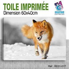 60x40cm -TOILE IMPRIMÉE - TABLEAU  POSTER DECO - RENARD - RE1-01T