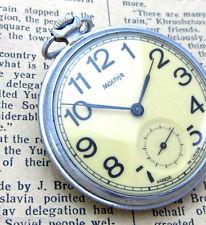 MOLNIJA MOLNIA YELLOW RAILROAD Vintage Soviet Russian Mechanical Pocket Watch