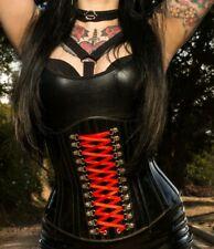 DeadlyGirlz Red Lace Corset - RARE GOTHIC METAL DARK ALT VINYL PVC LATEX SEXY