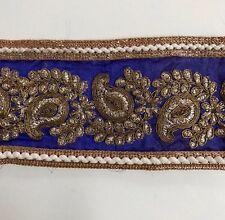 Azul atractivo Indio Oro Paisley Bordado Tela Sedosa Recortar/Encaje uno Mtr