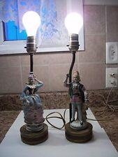 Vintage Victorian Porcelain Figurine Table Lamps Works