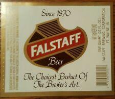 New old stock unused Falstaff Beer one quart 32 oz. bottle label 4x3