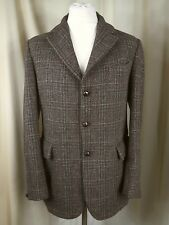 Vintage 60s Dunn & Co Harris Tweed Orange Brown Green Blue Check Jacket C40""