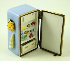 New French Limoges Trinket Box Blue Refrigerator Fridge With Food Mitten Towel