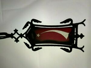 """ANTIQUE SHOOTING STAR ETCHED RED GLASS PANEL WEATHERVANE 22 1/2"""" 1800S"""