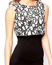 New Lipsy Michelle Keegan Bodycon Lace Zip Back Dress Black UK 8 EU 34 Clearance