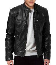 New Mens Slim Fit Biker Rider Motorcycle Lambskin Jacket