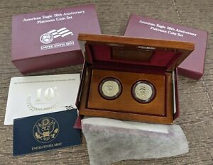 2007 1/2 oz American Platinum Eagle 10th Anniversary Two-Coin Set US Mint OGP