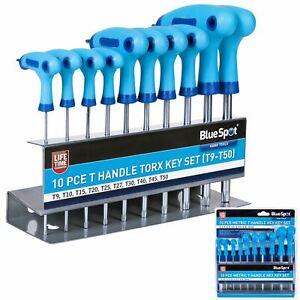BlueSpot Long Star Torx Allen key Wrench Set T9 - T50 10 Pc T Handle Keys