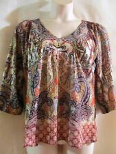 ONE WORLD~Brown Multi~V-Neck~3/4 Sleeve~Paisley~Nailhead Embellished~Top~M~NWOT