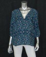 MOTHERHOOD MATERNITY NEW Green Print V-Neck 3/4 Sleeve Button Cuff Blouse sz S