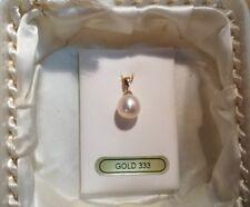ECHT GOLD  SWZ Perlen Anhänger 333 er gestempelt mit echter SWZ Perle 10 x 9 mm