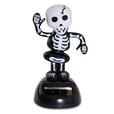 Halloween Dancing Skeleton Solar Powered Bobble Head Toy Scary Funny Decoration
