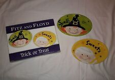 Fitz and Floyd Trick Or Treat 2005 Snack Plates Halloween Spells Sweets Witch