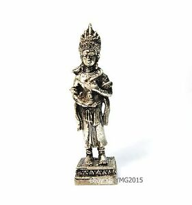 """3.3""""H  KHMER ANGEL APSARA ,Silver-Cabinet Statue & Red Gem at The Base for Rich"""