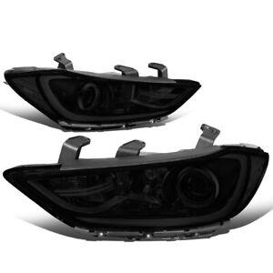 For 2017-2018 Elantra Smoked Housing Clear Corner Projector Headlight Headlamps