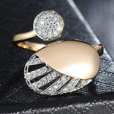 Lovely Round Oval Adjustable Silver & Gold Filled Clear Crystal Women Lady Ring