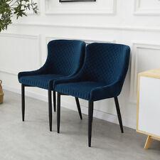 More details for set of 2 dining chair velvet soft padded backrest metal legs armchair navy blue