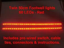 Twin 50cm Red LED interior footwell lights waterproof & flexible exterior neon