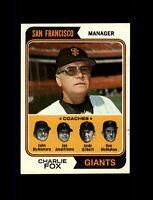 1974 Topps Baseball #78 Charlie Fox MG (Giants Coaches) NM+