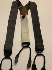 TRAFALGAR Solid Gray/Cream Woven Mens Suspenders Solid Black Leather Button Tab
