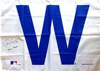 *RARE* Justin Grimm Cubs Signed W Flag 2016 WorldSeries Autograph insc -SCHWARTZ