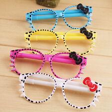 2Pcs Lovely Hello Kitty Bling Bowknot Glasses Frame Shape Ball-point School Pen