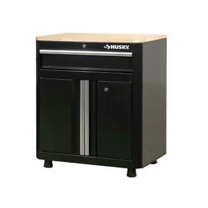 "Husky Garage Base Cabinet Steel 1-Drawer 2-Door Black (28'' W x 33"" H x 18"")"