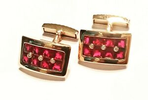 Pair Cufflinks 18k rose gold - Diamonds & Rubies   022