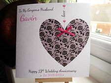 Handmade Personalised Lace 13th Wedding Anniversary Card Wife Husband Couple