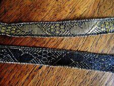 GALON tissé Noir or 0.90mx1.5cm@RUBBON