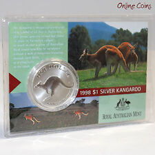 1998 Royal Australian Mint Uncirculated Specimen $1 Silver Frosted Coin - 1 oz