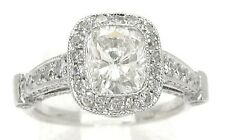 2.64CT CUSHION CUT ANTIQUE STYLE DIAMOND ENGAGEMENT RING G VS