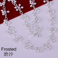 Fashion Women 925Sterling Silver Sandy Grapes Chains Necklace FN198