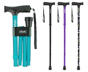 Vive Folding Cane - Foldable Walking Cane for Men, Women - Fold-up, Collapsible,