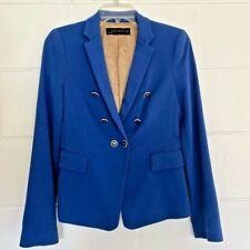 Zara Womens Suit Jacket Blazer Blue Double Breasted Pippa Middleton Spain XS