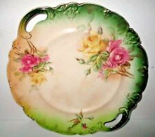 Antique Buffalo Pottery Cake Plate Victorian Pink Yellow Roses Handled Dish