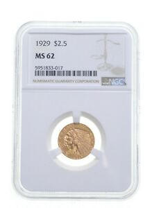 MS62 1929 $2.50 Indian Head Gold Quarter Eagle - Graded NGC *4869