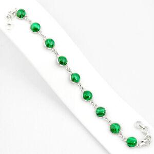 925 Silver 27.13cts Natural Malachite (pilot's Stone) Tennis Bracelet R84948