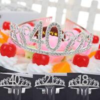 Exquisite Birthday Tiara Crown Headband Crystal Rhinestone with Comb Headwear